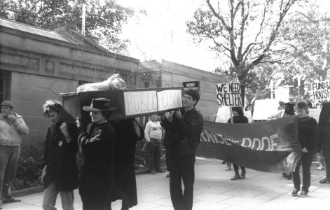 Coffin protest